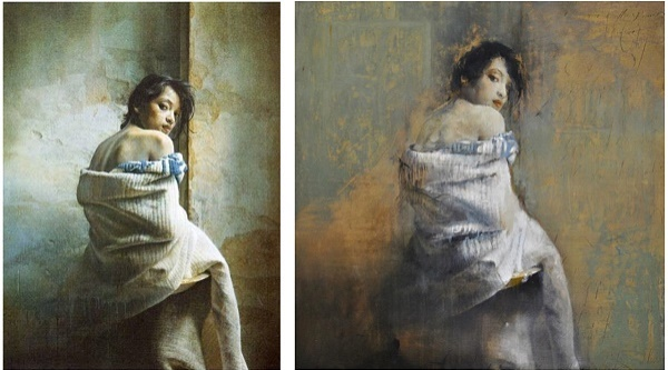 "Left, the original by István Sándorfi . On the right: Gabriella Benevolenza ""Lucy"""