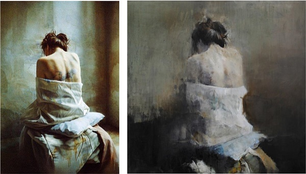 "Left, the original by István Sándorfi . On the right: Gabriella Benevolenza ""Femme assise vue de dos"""