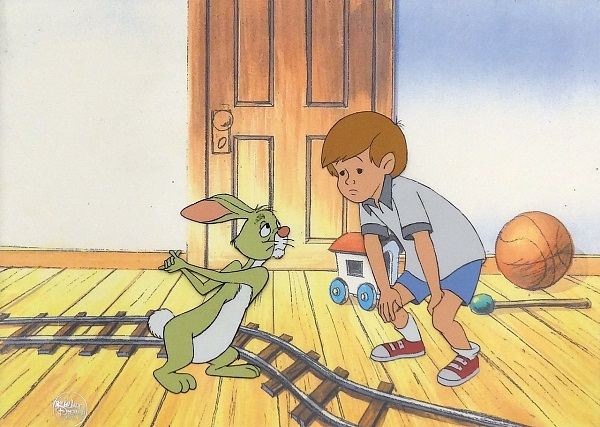 "Winnie the Pooh ""Rabbit and Boy"" Original Production Cel 27 x 34 cm"