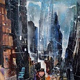 "Bernhard Vogel ""NY Midtown east"" mixed media 70 x 50 cm"