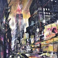 "Bernhard Vogel ""NY 34th street by night"" mixed media 80 x 100 cm"