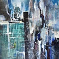 "Bernhard Vogel ""NY park avenue (doing it)"" mixed media 70 x 50 cm"