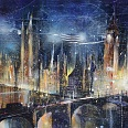 "Bernhard Vogel ""London by night (houses of parliament)"" mixed media 70 x 100 cm"