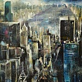 "Bernhard Vogel ""NY Solo Building (AEZ) Mixed Media 100 x 120 cm"