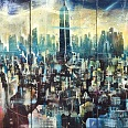 "Bernhard Vogel ""NY Skyline Mad Max"" 5teilig Mixed Media 80 x 200 cm"