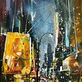 "Bernhard Vogel ""NY Yellow Lights"" Mixed Media 70 x 50 cm"