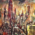 "Bernhard Vogel ""NY Empire State Building (Stream)"" Mixed Media 150 x 120 cm"