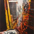 "Bernhard Vogel ""NY Midtown yellow stripes"" Radierung 60 x 40 cm"