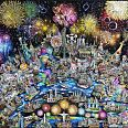 "Charles Fazzino ""Celebrating our world... the best is yet to come"" 3D-Siebdruck 100 x 130 cm"
