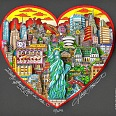 "Charles Fazzino ""Liberty stands tall in the heart of NYC"" 3D-Siebdruck 24 x 26 cm"