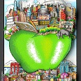 "Charles Fazzino ""NYC's little green apple"" 3D-Siebdruck 24 x 17 cm"