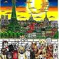 "Charles Fazzino ""Paws in Paris"" 3D Siebdruck 55 x 45 cm"
