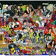 "Charles Fazzino ""Rockin through the 60s"" 3D-Siebdruck 70 x 100 cm"