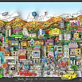 "Charles Fazzino ""You're going to Hollywood"" 3D-Siebdruck 38 x 74 cm"
