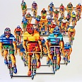 "David Gerstein ""Tour de France Frontal"" papercut 56 x 76 cm"