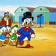 "Duck Tales ""Uncle Scrooge and Nephews"" Production Cel on Lithographic Background 25 x 29 cm"