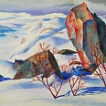 "Ernst Nepo ""Lang Fjord bei Kirkenes"" 1943, Aquarell, 58 x 70 cm"