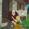 "Heidi - A Girl of the Alps ""Heidi and Grandpa"" Original Production Cel on Original Production Background 27 x 32 cm"