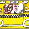 "James Rizzi ""A Mellow Yellow Taxi Cab"" 3D Siebdruck 24 x 30 cm"