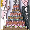 "James Rizzi ""And the bride cuts the cake"" 3D Siebdruck 16 x 10 cm"
