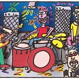 "James Rizzi ""Being In The Band"" 2010, 3D Siebdruck 20 x 24 cm"