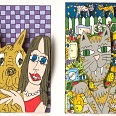 "James Rizzi ""Big Dog Big Cat"" 1997, 3D-Siebdruck 24 x 30 cm"
