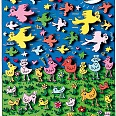 "James Rizzi ""Birds of a feather flock together"" 3D Siebdruck 22 x 14 cm"