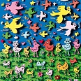 "James Rizzi ""Birds of a feather flock together"" 3D-Siebdruck (drucksigniert) 30 x 40 cm"