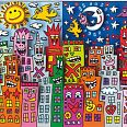 "James Rizzi ""Day or Night - my city is bright"" 3D-Siebdruck 12,5 x 20 cm"
