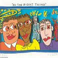 "James Rizzi ""do the right thing"" 3D-Siebdruck 8 x 11 cm"