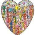 "James Rizzi ""Heart Times In The City"" 3D Siebdruck (drucksigniert) 92 x 84 cm"