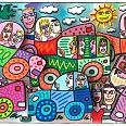 "James Rizzi ""My Busy City Traffic Jam"" 3D Siebdruck 24 x 40 cm"