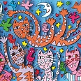 "James Rizzi ""Nine cats with nine lives"" 3D-Siebdruck (drucksigniert) 30 x 40 cm"