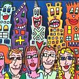 "James Rizzi ""out on the town"" 3D-Siebdruck 5,1 x 7,7 cm"