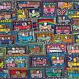 "James Rizzi ""Road Trip and a Cruise Ship"" 3D Siebdruck 63 x 74 cm"