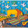 "James Rizzi ""Sleeping Gypsy"" 3D Siebdruck 16 x 24 cm"