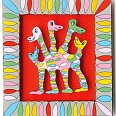 "James Rizzi ""Spring Into Action"" 2001, 3D Siebdruck 40 x 30 cm"
