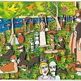 "James Rizzi ""Sunday afternoon on the island of la grande jatte"" 3D-Siebdruck, 17 x 24 cm"