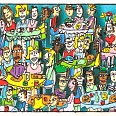 "James Rizzi ""The Brunch Bunch"" 2002, 3D Siebdruck 20 x 24 cm"