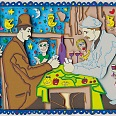 "James Rizzi ""The card players"" 3D Siebdruck 21 x 26 cm"