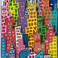 "James Rizzi ""The city that never sleeps"" 3D Siebdruck 18  x 6 cm"