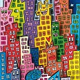 "James Rizzi ""The city that never sleeps"" 3D-Siebdruck (drucksigniert) 24 x 40 cm"