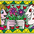 "James Rizzi ""The Flower Power Of Love"" 2013 3D Siebdruck (drucksigniert) 5,9 x 8,5 cm"