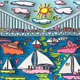 "James Rizzi ""Under and over the bridge"" 3D-Siebdruck, 6 x 18 cm"
