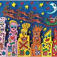 "James Rizzi ""When Santa comes to town"" 3D Siebdruck 9  x 10 cm"