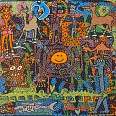 "James Rizzi ""Yesterdays leftovers"" 2004 Collage handbemaltes Unikat auf Papier 52 x 53 cm"