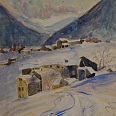 "Josef Arnold ""Winter in Südtirol"" Aquarell 33 x 26 cm"
