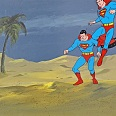 "Superman ""Landing"" Original Production Cel on Original Production Background 28 x 36 cm"