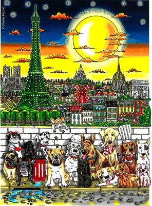 Charles Fazzino Paws in Paris 3D Siebdruck 55 x 45 cm web