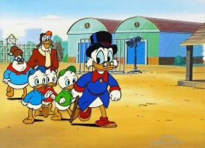 Duck Tales Uncle Scrooge and Nephews Production Cel on Lithographic Background 25 x 29 cm web